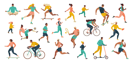 Photo for Group of people performing sports activities at park doing yoga and gymnastics exercises, jogging, riding bicycles, playing ball game and tennis. Outdoor workout. Flat cartoon vector. - Royalty Free Image