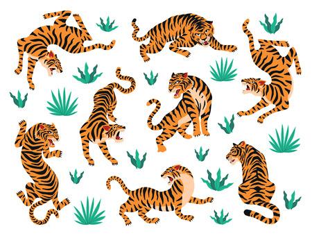 Ilustración de Vector set of tigers tropical leaves. Trendy illustration. - Imagen libre de derechos