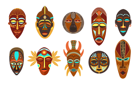 Ilustración de Flat set of colorful african ethnic tribal ritual masks of different shape isolated on white background vector illustration. - Imagen libre de derechos
