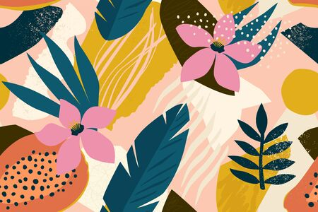 Ilustración de Collage contemporary floral seamless pattern. Modern exotic jungle fruits and plants illustration vector. - Imagen libre de derechos