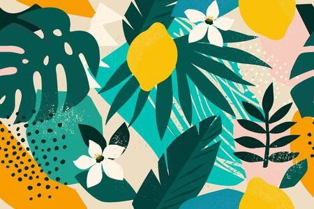 Ilustración de Collage contemporary floral seamless pattern. Modern exotic jungle fruits and plants illustration vector - Imagen libre de derechos