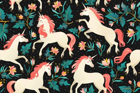 Illustration pour Unicorns on a dark background with fairy forest. Seamless pattern. - image libre de droit