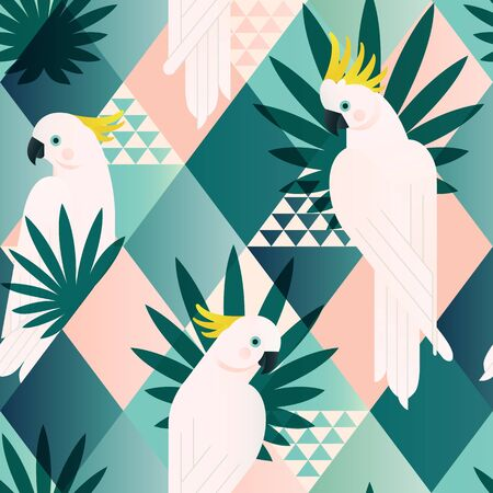 Illustration for Exotic beach trendy seamless pattern, patchwork illustrated floral vector tropical leaves. Jungle cockatoo. Wallpaper print background mosaic. - Royalty Free Image