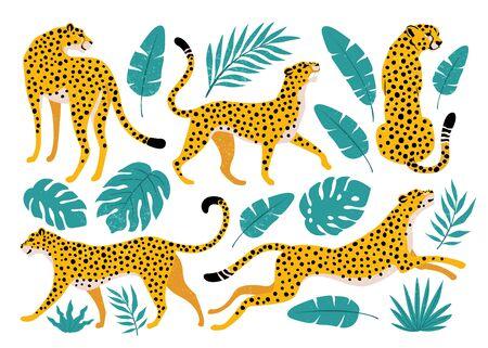 Illustration pour Vector set of leopards and tropical leaves. Trendy illustration. - image libre de droit