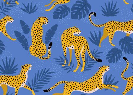 Illustration pour Leopard pattern with tropical leaves. Vector seamless texture. - image libre de droit