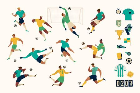 Illustration pour Football soccer player set of isolated characters and modern set of soccer and football icons. Vector illustration. - image libre de droit