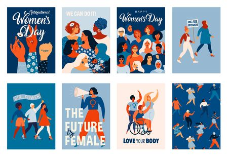 Ilustración de International Womens Day. Vector templates for card, poster, flyer and other users - Imagen libre de derechos