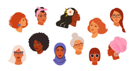 Illustration pour Portraits of beautiful women of different skin color, age, hairstyle, face types. Avatars of diverse fashionable female characters isolated on white background. Flat vector cartoon illustration. - image libre de droit