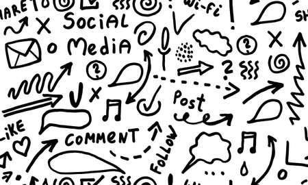 Illustration for Huge set of business, social, technology hand drawn elements doodles - Royalty Free Image