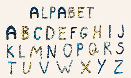 Illustration pour Vector hand drawn alphabet. Colorful English ABCs. Simple typographic design of Latin capital letters made of small circles. - image libre de droit