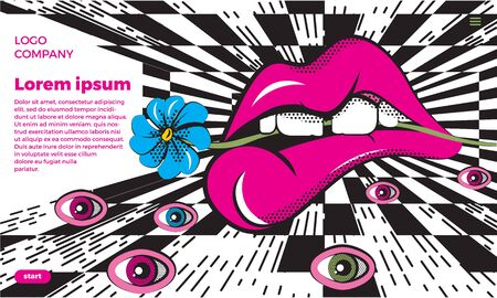 Photo pour Vector illustration in op art and pop art style. An absurd abstraction with huge lips and eyes against a chess perspective. Concept for poster, banner or web site. With place for text. - image libre de droit