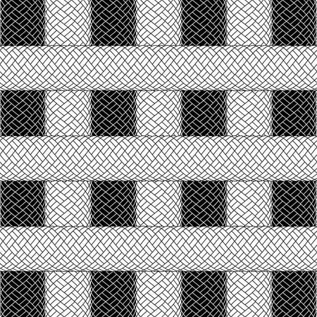 Illustration of abstract background with woven ropes in black and white colors