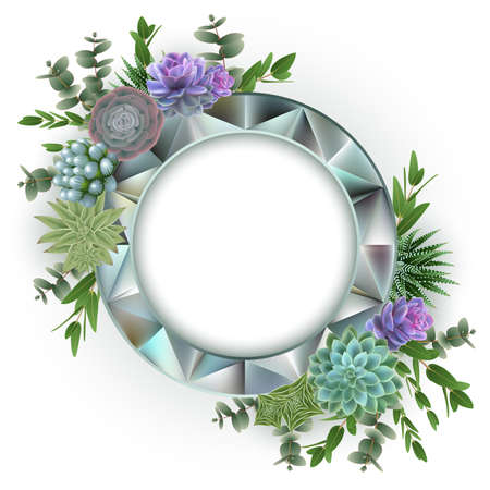 Illustration for Illustration of floral card template with succulent plants, eucalyptus and diamond frame isolated - Royalty Free Image