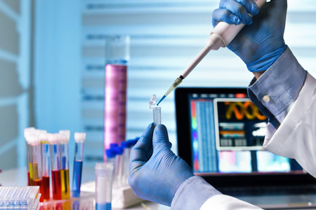 scientist holding tube and working with laptop at genetic lab / hands of engineer genetic working in laboratory