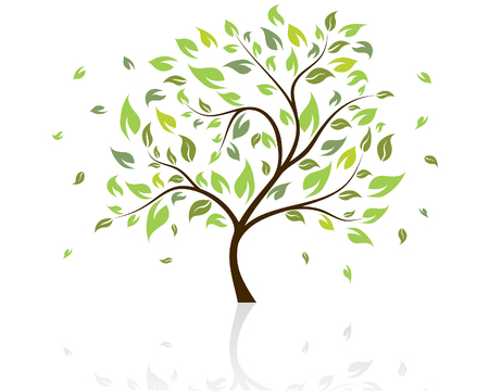 Vector illustration of tree with falling leaves