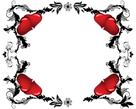 St. Valentine Day floral frame with hearts