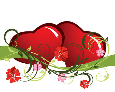 St. Valentine Day floral background with hearts