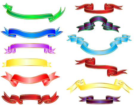 Set of different multicolor striped vector ribbons