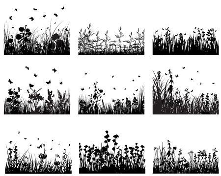 Illustration for Set of vector grass silhouettes backgrounds for design use - Royalty Free Image