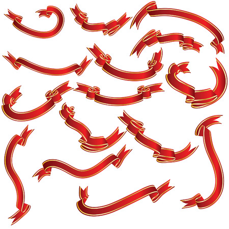 Red ribbons set. Collection of vector temlates.