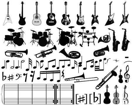 Big collection of musical elements for design use