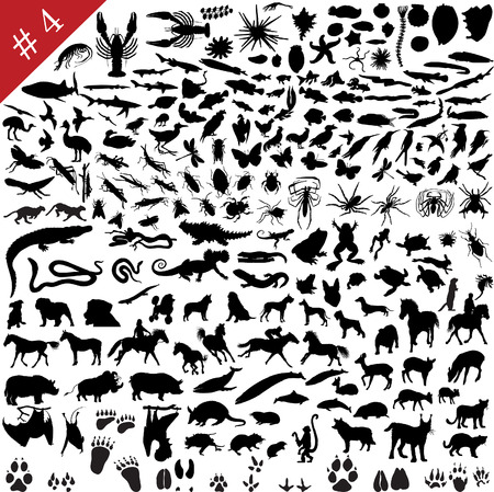 # 4 set of  different animals, birds, insects and fishes  vector silhouettes