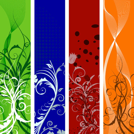 Set of different colors vector floral banners