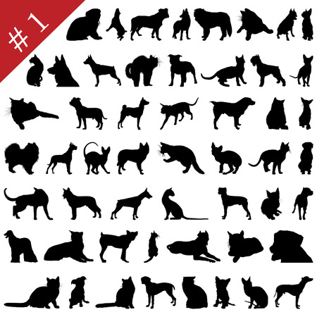 Set # 1 of different vector pets silhouettes for design use