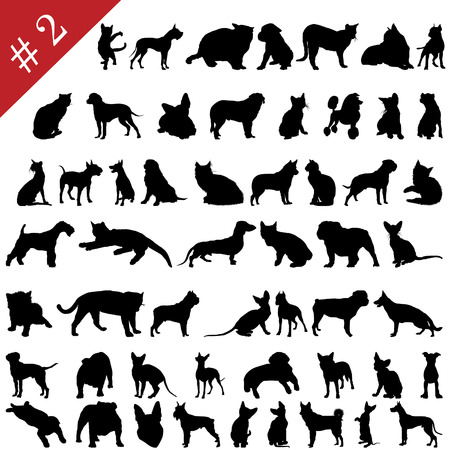 Set # 2 of different vector pets silhouettes for design use