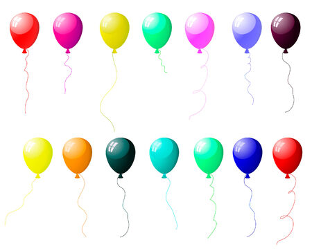 Beautiful colour balloons set with spot of light. Vector illustration.