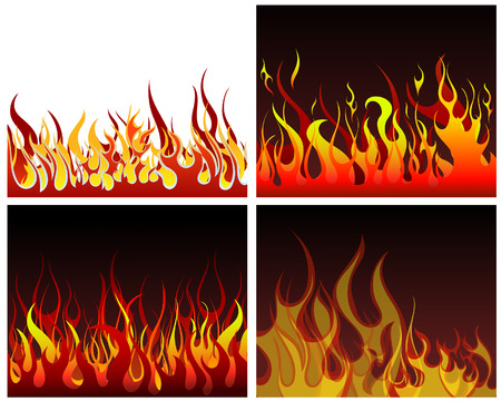 Inferno fire vector backgrounds set  for design use