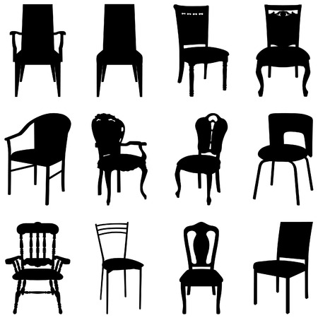 Collection of different chairs silhouettes.
