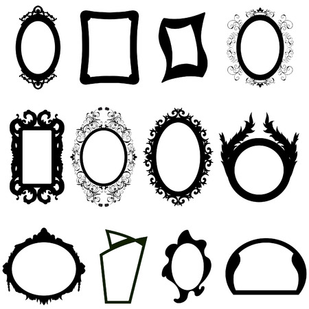 Set of different modern and ancient mirrors silhouettes.