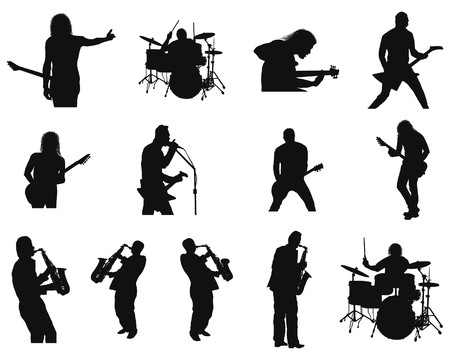 Illustration for Collection of different rock and jazz silhouettes. illustration. - Royalty Free Image