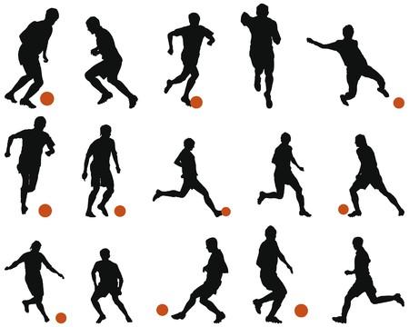 Ilustración de Collection of different football (soccer) silhouettes. illustration. - Imagen libre de derechos