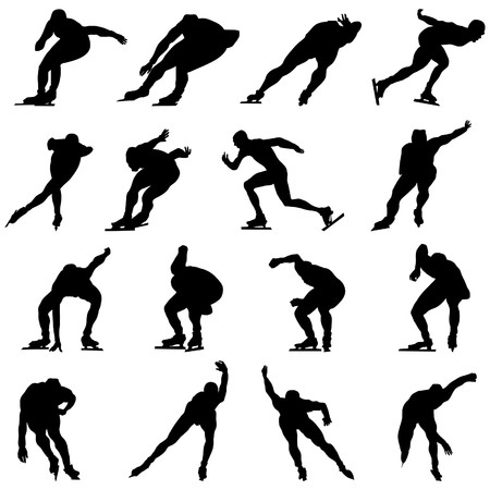 Skating man silhouette set for design use