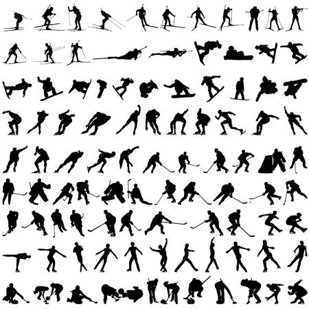 Set of winter sport silhouettes.   illustration.