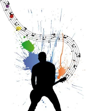 Rock group guitarist. Vector illustration for design use.
