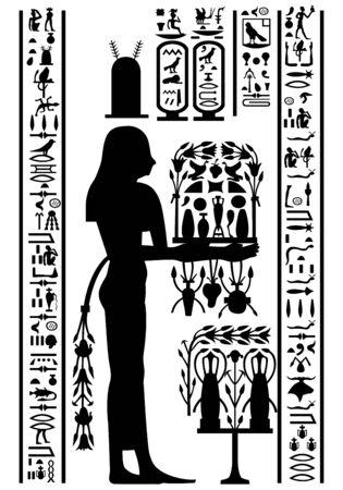 Egyptian hieroglyphs and fresco. Vector illustration.