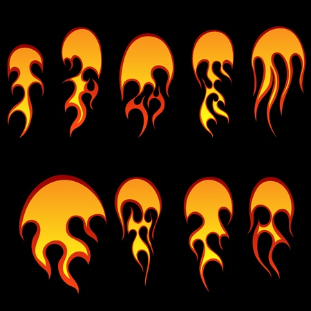Set of different fireballs for design use