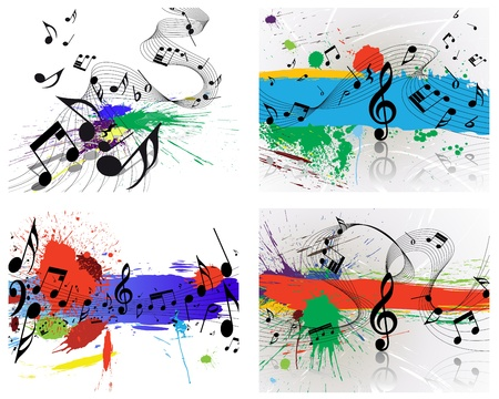 Set of vector musical notes staff on grunge background for design use