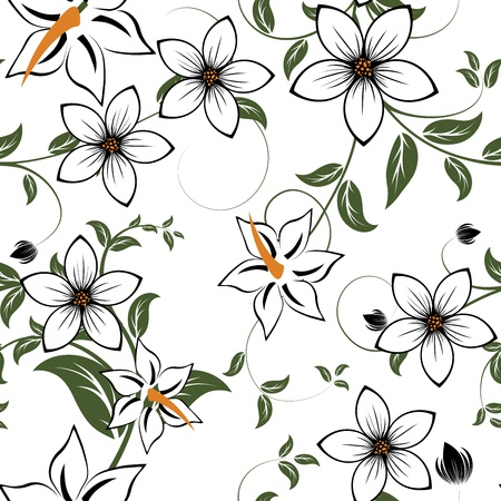 Illustration for Seamless vector floral pattern. For easy making seamless pattern just drag all group into swatches bar, and use it for filling any contours. - Royalty Free Image
