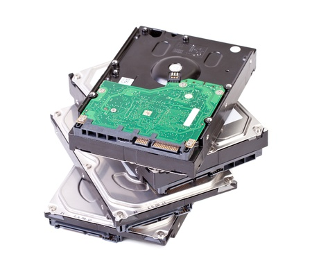 Close up of hard disk drive isolated on white background