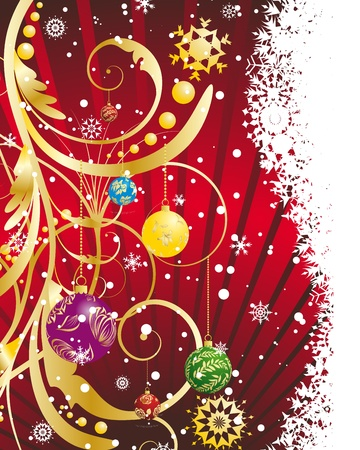 Illustration for Christmas (New Year) card for design use. - Royalty Free Image