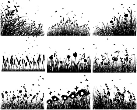 Nine vector grass silhouettes backgrounds. All objects are separated.