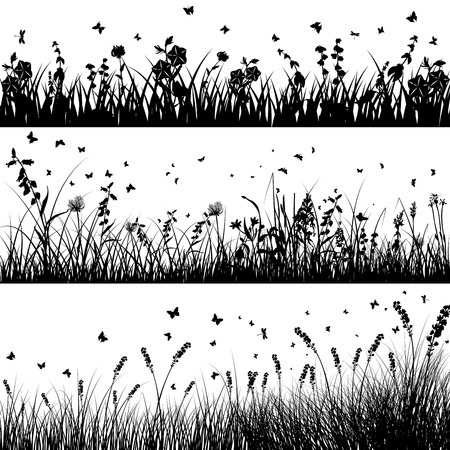 Illustration for grass silhouette background set. All objects are separated. - Royalty Free Image