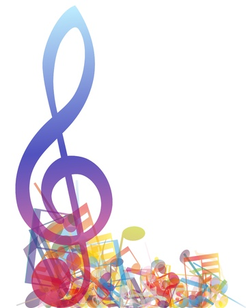 Multicolour  musical notes staff background.