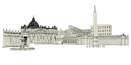 Vatican sketch hand drawn image. illustration.