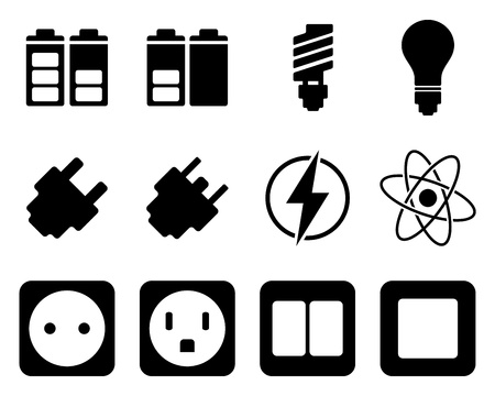 Electricity and energy icon set. illustration.