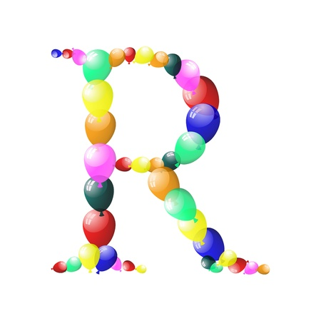 Color balloon alphabets letter illustration with transparency.